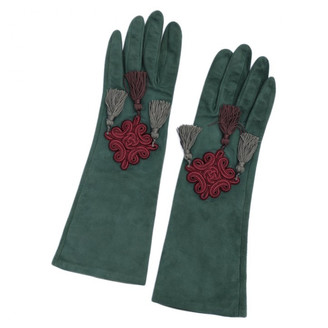 Saint Laurent Green Leather Gloves