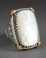 Konstantino Rectangular Mother of Pearl Selene Ring