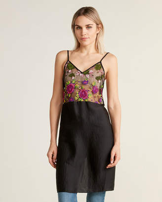 Hache Embroidered Sheer Bodice Sleeveless Top