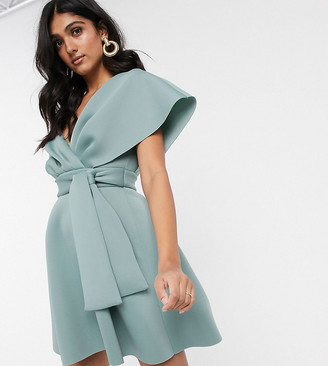 Asos Tall DESIGN Tall fallen shoulder skater mini dress with tie detail-Blue