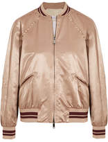 Valentino Rockstud Embellished Satin Bomber Jacket - Blush