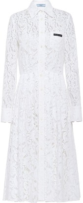 Prada Logo Patch Lace Midi Dress
