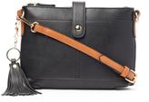 Kathy Ireland Black Contrast-Strap Tassel Crossbody Bag