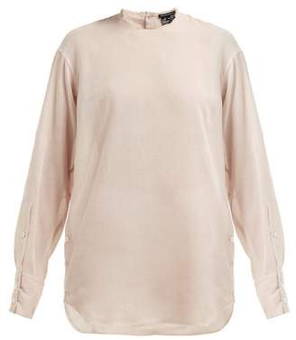 Ann Demeulemeester Raw-trim Neck Cotton And Cashmere Blouse - Womens - Light Pink
