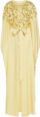 Marchesa Embellished Crepe De Chine Caftan Dress
