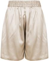 Villao Champagne stretch-silk satin shorts