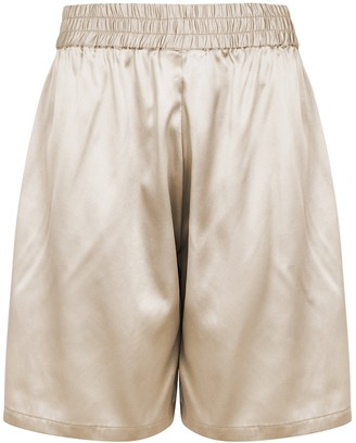 Villao Champagne stretch-silk satin shorts
