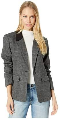 Kensie Tweed Plaid Blazer KSDK2386 (Black Combo) Women's Jacket