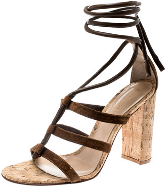 Gianvito Rossi Brown Leather And Suede Block Cork Heel Strappy Sandals Size 40.5