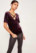 Missguided Velvet Cross Front T Shirt Purple