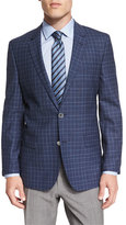 HUGO BOSS Hutsons Plaid Slim-Fit Wool Sport Coat, Blue