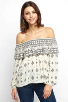 BB Dakota Bernadine Printed Gauze Off The Shoulder Top