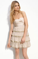 Sequin Trim Stretch Satin Dress
