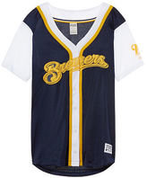 PINK Milwaukee Brewers Mesh Button Down Jersey