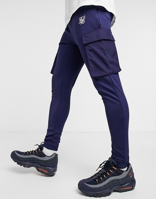 SikSilk crushed nylon cargo joggers in navy