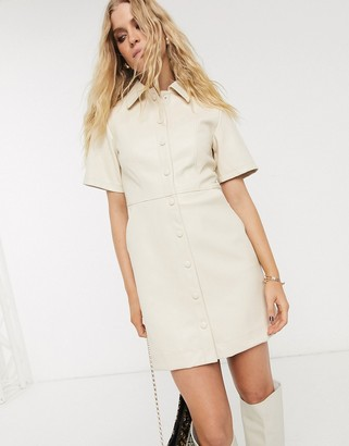 Topshop faux leather shirt dress in cream