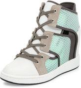 L.A.M.B. Gera Hidden-Wedge Sneaker, White/Mint/Gray