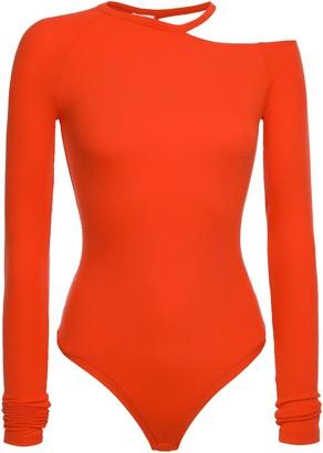 Alix Lawrence Cutout Ribbed Modal-blend Jersey Thong Bodysuit