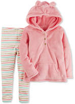 Carter's 2-Pc. Fleece Hoodie & Striped Leggings Set, Baby Girls (0-24 months)