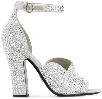 Prada crystal embellished satin sandals