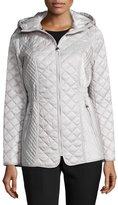 Laundry by Shelli Segal Quilted Coat with Drawstring Hood, Pebble