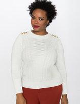 ELOQUII Button Shoulder Stitched Sweater