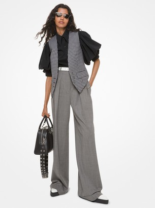 Michael Kors Stretch Tropical Wool Pleated Trousers