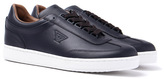 Armani Jeans Blue Graphite Leather Trainers