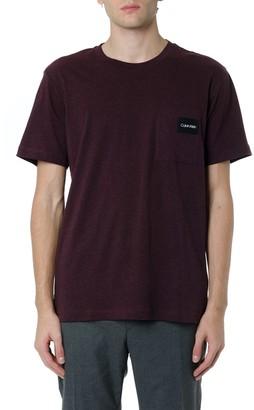 Calvin Klein Burgundy Basic T-shirt With Logo Patch