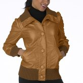 Mossimo® Black: Faux-Leather Button Bomber Jacket - Toffee