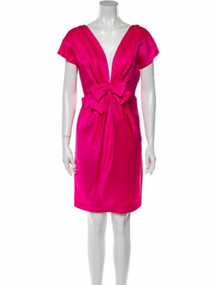 Oscar de la Renta Plunge Neckline Knee-Length Dress Pink