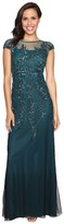 Adrianna Papell Illusion Neckline Embellished Gown Women's Dress