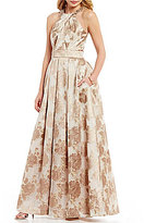 Eliza J Beaded Halter Neck Floral Jacquard Ball Gown