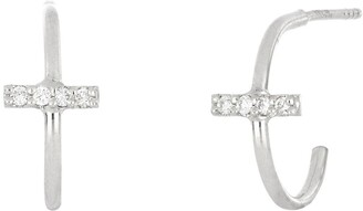 Bony Levy Icon 18K White Gold Pave Diamond Bar Huggie Earrings - 0.06 ctw