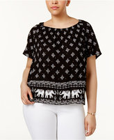 INC International Concepts Plus Size Printed Boat-Neck Top, Created for Macy's