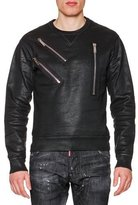 DSQUARED2 Faux-leather Sweatshirt with Zip-Detail, Black
