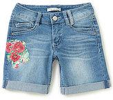 Copper Key Big Girls 7-16 Floral Cuffed Denim Shorts