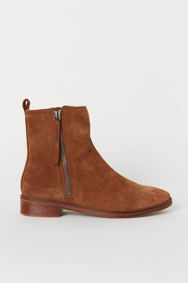 H&M Warm-lined Suede Boots - Beige