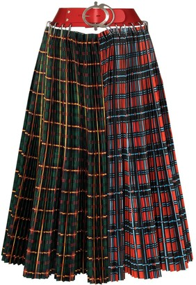 Chopova Lowena Haakon check-panels pleated skirt