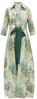 La Costa Del Algodón La Costa Del Algodon - Marais Flamingo-print Cotton Dress - Womens - Green Print