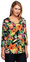As Is Susan Graver Printed Liquid Square V-neck 3/4 Sleeve Top