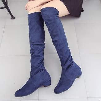 Meigar Women's Thigh High Heel Shoes Over Knee Suede Stretch Slouch Warm Winter Boots