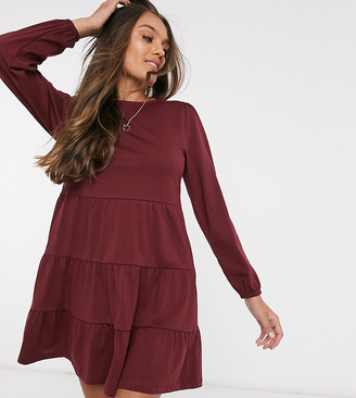 ASOS DESIGN Petite smock mini dress with tiered hem with long sleeve in port