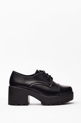 Nasty Gal Womens Block Party Faux Leather Lace-Up Shoes - Black - 3