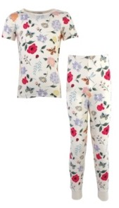 Touched by Nature Big Girls and Boys Flutter Garden Tight-Fit Pajama Set, Pack of 2