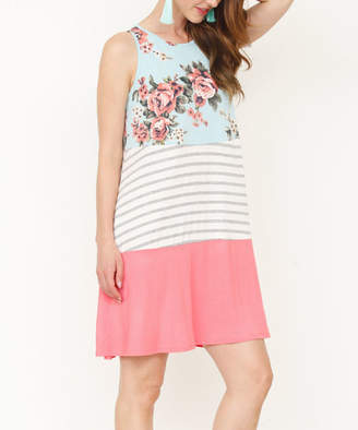 Egs By Eloges egs by eloges Women's Casual Dresses mint - Mint & Pink Floral Stripe Color Block Pocket Sleeveless Dress - Women & Plus