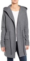 James Perse Hooded Brushed Fleece Open Front Coat