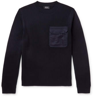 A.P.C. Bluestack Canvas-Trimmed Ribbed Merino Wool Sweater