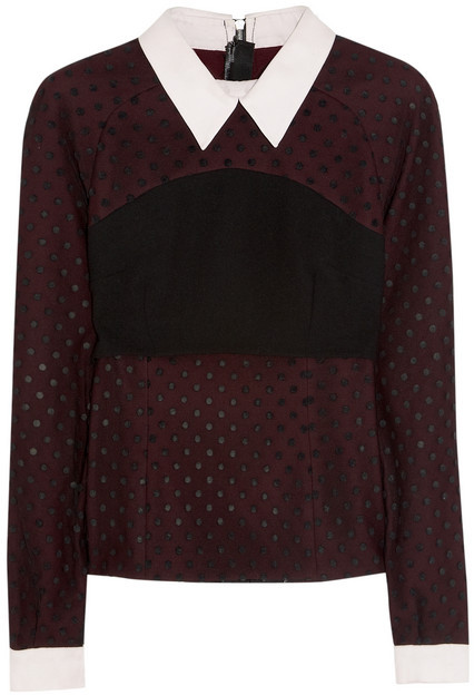 Erdem Ebony polka-dot tulle and crepe blouse
