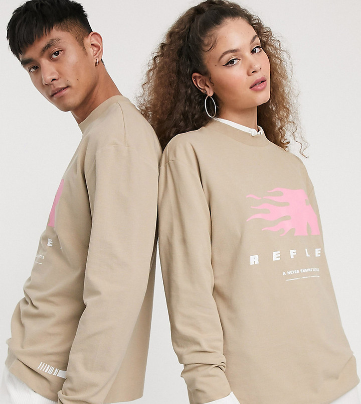 Collusion Unisex long sleeve t-shirt with reflex print in washed pique fabric